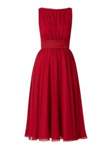 Czerwona sukienka Swing z okrągłym dekoltem rozkloszowana midi