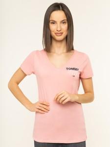 Różowy t-shirt Tommy Jeans z krótkim rękawem