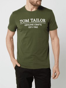 Zielony t-shirt Tom Tailor z krótkim rękawem z bawełny