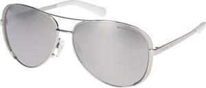 Srebrne okulary damskie Michael Kors w militarnym stylu