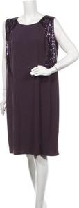 Fioletowa sukienka Marisota mini prosta z okrągłym dekoltem