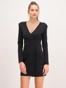 Czarna sukienka Pinko z dekoltem w kształcie litery v z długim rękawem mini