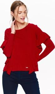 Czerwony sweter Top Secret w stylu casual