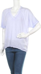 Fioletowy t-shirt Rich z dekoltem w kształcie litery v z krótkim rękawem w stylu casual