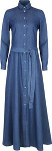Niebieska sukienka Nife koszulowa z kołnierzykiem