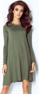 Sukienka Moda Dla Ciebie z długim rękawem mini z okrągłym dekoltem