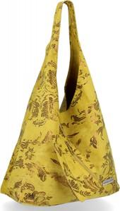 Żółta torebka VITTORIA GOTTI duża z zamszu zamszowa