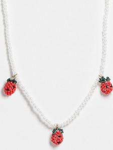 ASOS DESIGN – Naszyjnik z perełek i koralików z zawieszkami w kształcie truskawek-Wielokolorowy
