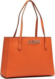 Pomarańczowa torebka Guess ze skóry na ramię matowa
