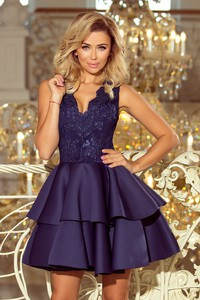 Niebieska sukienka NUMOCO mini z dekoltem w kształcie litery v