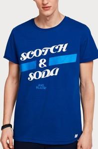 Niebieski t-shirt Scotch & Soda z krótkim rękawem