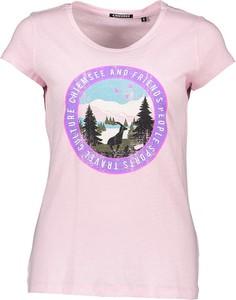 Różowy t-shirt Chiemsee z bawełny z nadrukiem