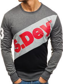 Bluza męska bez kaptura z nadrukiem grafitowa denley tt98