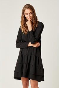 Czarna sukienka Scui Studios mini z długim rękawem