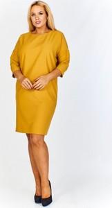 Żółta sukienka Iwa z okrągłym dekoltem midi