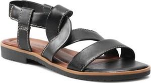 Czarne sandały Lasocki z płaską podeszwą z klamrami w stylu casual