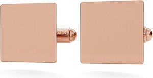 GIORRE SRERBNE KWADRATOWE SPINKI DO MANKIETU GRAWER 925 : Kolor pokrycia srebra - Pokrycie Różowym 18K Złotem