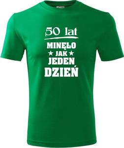 Zielony t-shirt TopKoszulki.pl z krótkim rękawem w młodzieżowym stylu