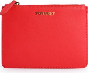 Czerwona torebka Twinset do ręki ze skóry mała