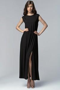 Czarna sukienka Nife z okrągłym dekoltem
