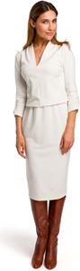 Sukienka MOE midi z bawełny z długim rękawem