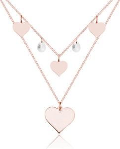Lian Art Naszyjnik kaskadowy podwójny z sercami i kryształem Swarovski® - Rose Gold