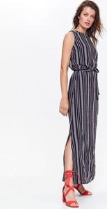 Granatowa sukienka Top Secret maxi z tkaniny prosta