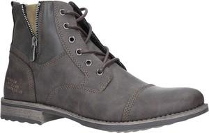 Brązowe buty zimowe Casu w stylu casual sznurowane
