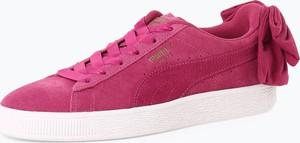 Różowe trampki Puma z płaską podeszwą ze skóry