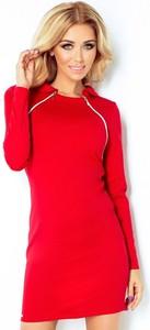 Czerwona sukienka NUMOCO z długim rękawem mini