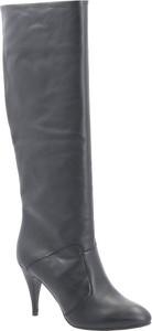 Czarne kozaki Tommy Hilfiger na szpilce w stylu klasycznym