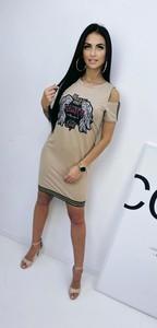 Sukienka Massiomo Contti z okrągłym dekoltem mini z długim rękawem
