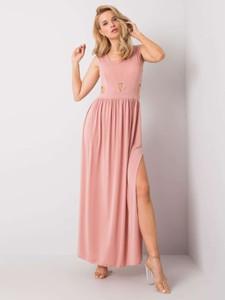 Różowa sukienka Promese bez rękawów maxi z dekoltem w kształcie litery v