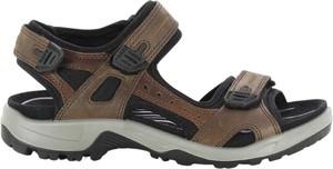 Brązowe buty letnie męskie Ecco na rzepy