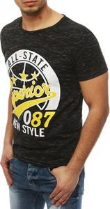 Czarny t-shirt Dstreet z bawełny z nadrukiem z krótkim rękawem