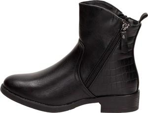 Czarne botki Suzana w stylu casual z płaską podeszwą