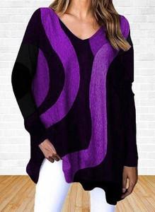 Fioletowa bluzka Cikelly z długim rękawem w stylu casual