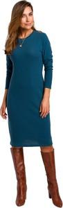 Niebieska sukienka Style midi w stylu casual z długim rękawem
