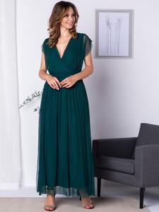 Sukienka Grandio z tiulu maxi z dekoltem w kształcie litery v