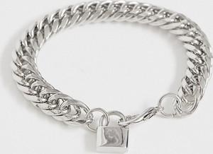 ASOS DESIGN - Gruba bransoletka z łańcuszka z kłódką w kolorze srebra-Srebrny