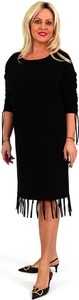 Czarna sukienka Roxana - sukienki z okrągłym dekoltem midi w stylu boho