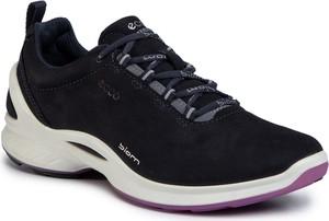 Granatowe buty sportowe Ecco z płaską podeszwą z nubuku sznurowane