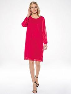 Czerwona sukienka Premiera Dona z okrągłym dekoltem z długim rękawem
