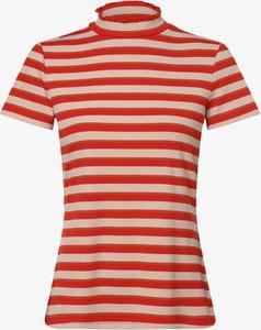 Czerwony t-shirt comma, z okrągłym dekoltem