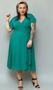 Zielona sukienka KARKO z szyfonu z długim rękawem z dekoltem w kształcie litery v