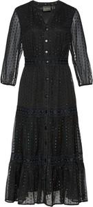 Czarna sukienka bonprix szmizjerka midi z długim rękawem