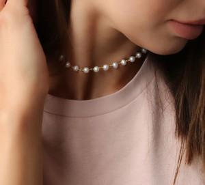coccola.pl Złoty choker / naszyjnik różaniec perły naturalne słodkowodne- srebro 925 pozłacane S