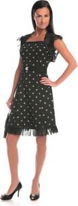 Sukienka Fokus z tiulu z dekoltem w karo z krótkim rękawem