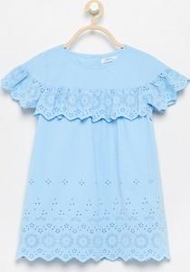 Niebieska sukienka dziewczęca Reserved z bawełny
