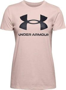 Różowa bluzka Under Armour z krótkim rękawem z bawełny w sportowym stylu